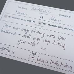 I've just found Pack Of 25 Wedding Advice Cards Dot Border Design. A fun and memorable wedding guest book alternative!. £11.95