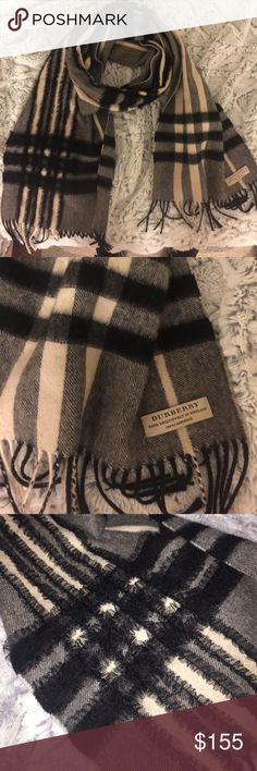 Burberry Cashmere Scarf Giant Check / Authentic Burberry, black and cream with soft black lace. I bought this scarf retail 395 and wore it a total of 2 times due to the fact that it's always summer in south Texas. I figure it deserves to be shown off more often! I'm open to reasonable offers but please no low balling, this scarf is in impeccable condition. Burberry Accessories Scarves & Wraps