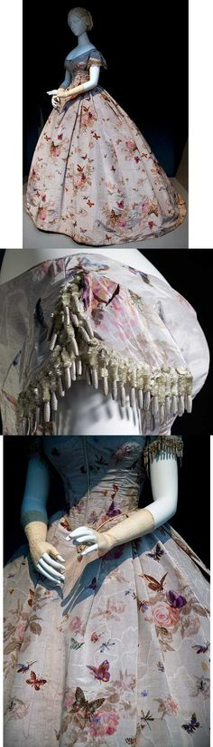 Robe à transformation, French, circa 1865. Silk plain weave (taffeta) with…