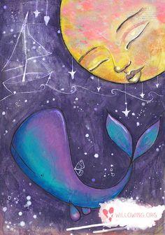 Moon Whale Art Print by willowing on Etsy Art Videos For Kids, Whale Art, Art Journal Inspiration, Whimsical Art, Mixed Media Art, Flower Art, Watercolor Art, Art Projects, Fine Art Prints