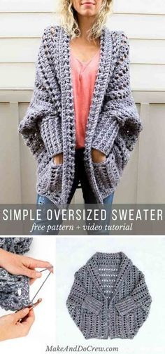 Learn how to crochet the free Dwell Sweater pattern in this video tutorial. This chunky crochet cardigan is a fantastic beginner sweater pattern because there is zero shaping! via Crochet Cardigan Video Tutorial: Beginner Friendly Crochet Dwell Sweater Cardigan Au Crochet, Gilet Crochet, Crochet Jacket, Sweater Knitting Patterns, Crochet Shawl, Knit Crochet, Crochet Sweaters, Crochet Granny, Crochet Shrugs