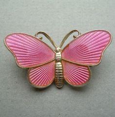Antique Art Deco Silver & Pink Enamel Butterfly Brooch Norway Ivar T. Holth Oslo