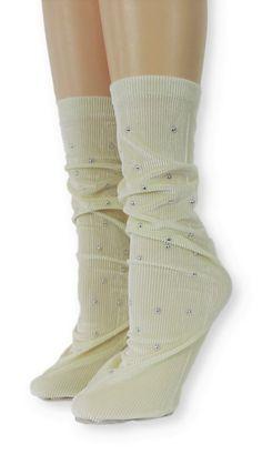 Ribbed Cream Velvet Socks with Beads Velvet Socks, Crew Socks, Comfy, Spandex, Cream, Beads, Unique, Modern, Products