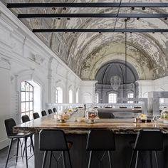 Beirut bulb maestros create the shining centrepiece at Antwerp chapel restaurant...  http://www.weheart.co.uk/2014/05/12/the-jane-antwerp/
