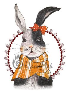 Rabbit , Original painting, instant download, in PNG , EPS file - 300 dpi