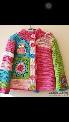 Baby Knitting Patterns Sweter Similar Items like Handmade Crochet Cardigan with Owl and Mushroom Appliques on … Crochet Toddler, Crochet Girls, Crochet For Kids, Crochet Top, Free Crochet, Knitting For Kids, Baby Knitting Patterns, Crochet Baby Sweaters, Crochet Baby Dresses