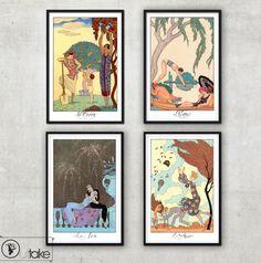 Set of 4 Vintage Art Deco illustrations  - The four elements - by George Barbier - Art Deco print -