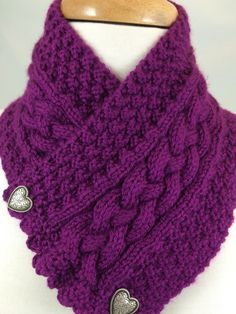 Beautiful and soft hand knit neck warmer with center plaited cable and double moss sides. Featuring two silver metal heart but Cable Knitting, Knit Cowl, Free Knitting, Crochet Scarves, Knit Crochet, Baby Knitting Patterns, Crochet Patterns, Knit Picks, Plum Purple