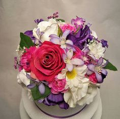 Magenta, Purple and Ivory Silk Floral Wedding Cake Topper :  wedding cake flowers ivory Dsp Il 570xn 250939696