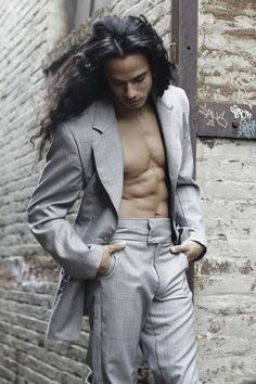 Luciano Acuna Jr. Long hair male model  long haired men= one of my fetishes