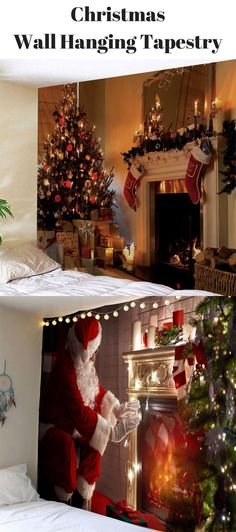 Christmas Fireplace Wall Hanging Tapestry |From $9| Free Shpping