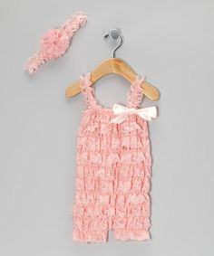 Take a look at this Light Pink Lace Romper & Headband - Infant & Toddler by Whitney Elizabeth on #zulily today!