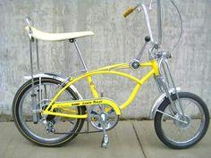 My first bicycle, a new Schwinn Lemon Peeler, 5-Speed! Christmas, 1969, age 7, Lomita, California. From my loving parents. (N. Robinson).