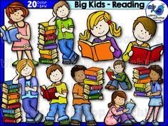 This set features older kids reading books, holding books and leaning on books! There are 20 high quality graphics including both color and BW. $ All graphics are half price for the first 24 hours at Whimsy Workshop Teaching