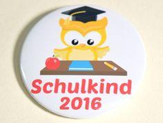 Button Schulkind 2016 Eule gelb