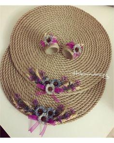 Supla takımı #supla #masadüzeni #hobi #hobinisat #kendinyap Jute Crafts, Diy And Crafts, Arts And Crafts, Sisal, Grey Baby Shower, Wedding Decorations, Table Decorations, Decoupage, Weaving