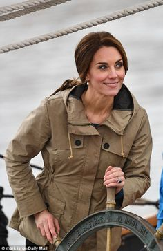 Catherine, Duchess of Cambridge steers the tall ship, Pacific Grace, before sailing with members of the Sail and Life Training Society at Victoria Inner Harbour on the final day of their Royal Tour of Canada on October 1, 2016 in Victoria, Canada.