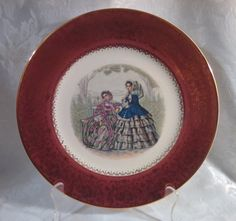 Vintage 1940s Imperial by Salem China Company 23 Kt Maroon Godey Print Service Plate by AnchorLineVintage on Etsy