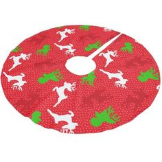 Christmas Reindeer Pattern Print Brushed Polyester Tree Skirt - holidays diy custom design cyo holiday family