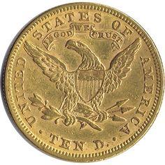 Moneda de oro 10 dolares EEUU 1880., Tienda Numismatica y Filatelia Lopez, compra venta de monedas oro y plata, sellos españa, accesorios Leuchtturm