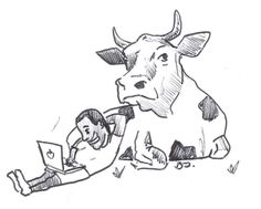 cow and programmer paint