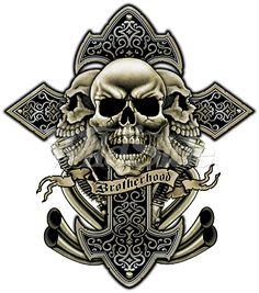 Casual Shirts Skulls Cross Brotherhood Biker Work Shirt Dickies Button Up Garage Skull Tattoos, Body Art Tattoos, Sleeve Tattoos, Cool Tattoos, Tatoos, Hai Tattoo, Soft Tattoo, Aztecas Art, Beginner Tattoos
