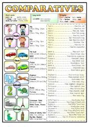 English teaching worksheets: Comparison of adjectives
