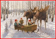 christmas moose images free | Scandinavian-Swedish-Christmas-Poster-Print-Moose-Tomte-Gnome-J ...