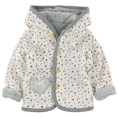Reversible hooded jacket: one light grey downy knit side and one ivory printed cotton jersey side. Small heart-shaped buttons. Appliqué pockets on both sides. - $ 64.00 Kids Coats, Boys Hoodies, Small Heart, Padded Jacket, French Terry, Baby Love, Printed Cotton, Kids Fashion, Dressing