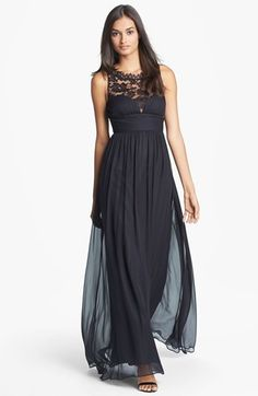 $395, Aidan Mattox Embellished Lace Silk Chiffon Gown. Sold by Nordstrom. Click for more info: https://lookastic.com/women/shop_items/90667/redirect