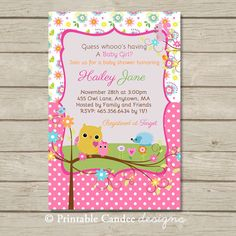 Hey, I found this really awesome Etsy listing at https://www.etsy.com/listing/164452364/baby-girl-owl-baby-shower-invitation-diy