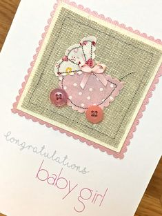Personalised New Baby Greeting Card ~ Tiny Feet ~ Personalised Map Location Personalised New Baby Congratulations Card - Fabric Applique Card This unique new baby card is a delightful gift for any new parent. This pr # New Baby Greetings, Baby Congratulations Card, Craftwork Cards, Fabric Cards, Free Motion Embroidery, Funny Christmas Cards, New Baby Cards, Sewing Art, Kids Cards