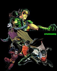 Dick Grayson, Jason Todd, Tim Drake and Damian Wayne... not sure who the girl at the top is