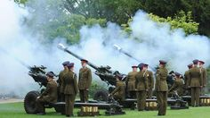 Soldiers from 103rd Regiment Royal Artillery fire a Royal Salute for the Diamond Jubilee celebrations in the Museum Gardens at York, England, Saturday, June 2, 2012. (Anna Gowthorpe / PA)