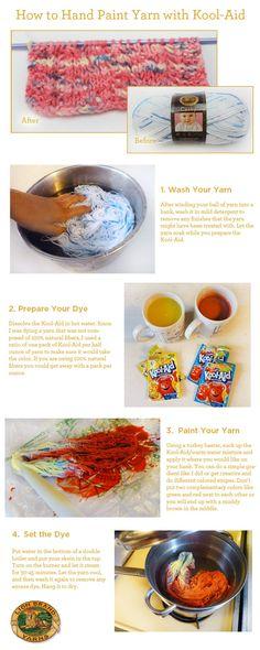 How to Hand Paint Yarn with Kool-Aid.