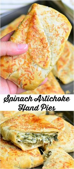 Spinach Artichoke Hand Pies | from willcookforsmiles... #snack #pie #spinach