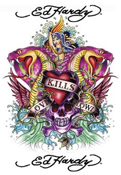 ed hardy art. Funny. I loathe tattoos but love this art...