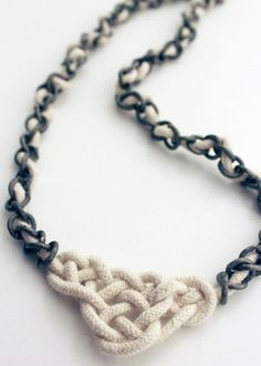 Celtic Knot Necklace {Tutorial} - Momma Go Round. I made a couple of these with different knots, they are great Beads Jewelry, Jewelry Knots, Jewelry Crafts, Jewelery, Handmade Jewelry, Colar Diy, Celtic Knot Necklace, Rope Necklace, Nautical Necklace