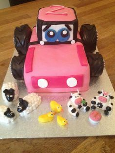Pink tractor cake