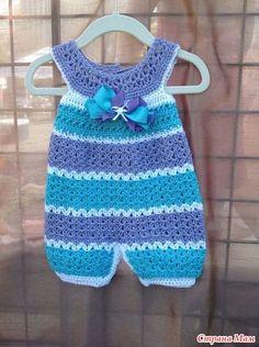 Klicke, um das Muster für - Crochet baby overall anzusehen - Deco Pinner Crochet Romper, Baby Girl Crochet, Crochet Baby Clothes, Crochet For Kids, Free Crochet, Knit Crochet, Crochet Children, Crochet Tops, Baby Patterns