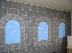 I love to dabble in paint!  I painted Cinnamon's room to represent a castle wall.  Some of it is freehand, used some stencils, and lots of T...