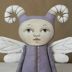 Fairy Monster Bug Original Hand Painted Folk by cartbeforethehorse, $160.00