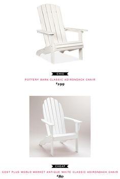 Pottery Barn Classic Adirondack Chair $199 -vs- Cost Plus World Market Antique White Classic Adirondack Chair $80