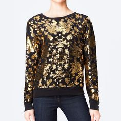 NWOT Wildfox Gold Rose Pattern on Black Sweatshirt Regular-fit sweatshirt from Wildfox. Construction features a soft fleece material complete with gold details in rose cut pattern.  Content & Care - polyester, rayon, spandex - Machine wash - Imported  Size - Loose fit on Small  Last photo was photographed by me, don't take to use.  USE THE OFFER BUTTON IF YOU WANT TO NEGOTIATE PRICE + NO TRADES Wildfox Tops Sweatshirts & Hoodies
