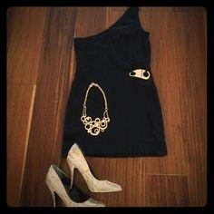 Bebe Little Black Dress Gold Keyhole Side Large L