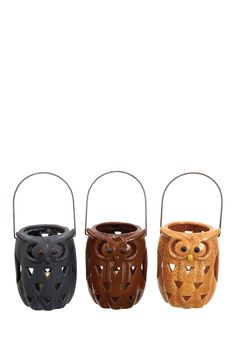 Ceramic Owl Lanterns - Small - Set of 3 on HauteLook