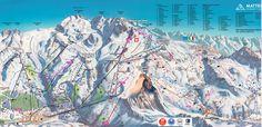 Foto: Pistenplan Zermatt mit Breuil Cervinia