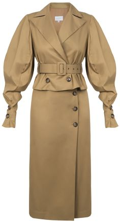 Camel brown puff sleeve dress with cut-out waist detail, buttons down the front and a belt. 70% viscose, 30% silk Dry clean only Preorder will be shipped in ten days after the payment has been processed. Made in Georgia Model is wearing size FR36 She is 180cm, bust 81cm, waist 57cm, hips 88cm