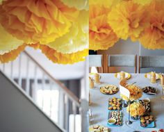 Pom poms over table