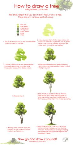 Tree drawing tutorial by Morpho-Deidamia. on Tree drawing tutorial by Morpho-Deidami Watercolour Tutorials, Watercolor Techniques, Painting Techniques, Watercolor Illustration Tutorial, Watercolor Trees, Watercolor Paintings, Watercolors, Simple Watercolor, Watercolor Journal